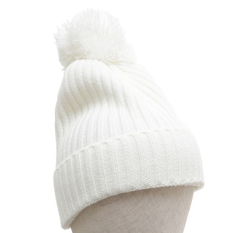 【多少の傷汚れありの為大奉仕】スキー スノーボード ニット帽 レディース RIB PON 331SW8AV1979 WHT