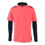 ゴルフウエア メンズ 秋冬 スリーストライプス レイヤードスタンドカラーシャツ INS67-FS6869PI/NV