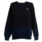 ゴルフウエア メンズ 長袖Vネックセーター LSM-9C-AB05-BLACK