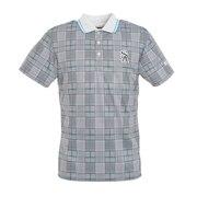 Uchimizuグレンチェックプリント半袖ポロシャツ 042-0160559-140