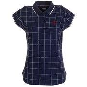 ゴルフウエア レディース グラフチェックプリント フレンチスリーブポロシャツ ADLA028-NVY
