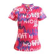 ロゴ×スローガンプリント カノコ半袖ポロ 012-23843-074