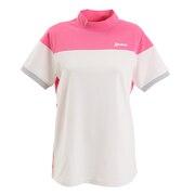 裏鹿の子配色切り替えモックネックシャツ RGWPJA09-WHPK