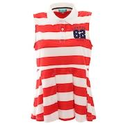 ゴルフウエア レディース ボーダーノースリーブ ポロシャツ W6078-RED