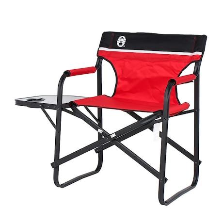 アウトドア チェア 椅子 サイドテーブル付デッキチェアST レッド 2000017005