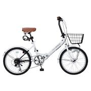 20インチ折り畳み自転車 オートライト M-204MERRY WHT