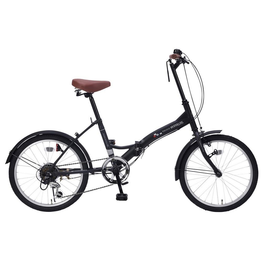 20インチ折り畳み自転車 6段ギア LEDライト M-205E BLK