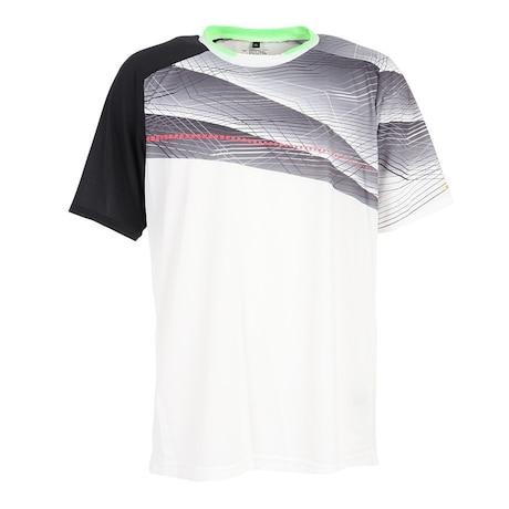 テニスウェア ドライプラス昇華 プリントTシャツ PT21SM402 WHT