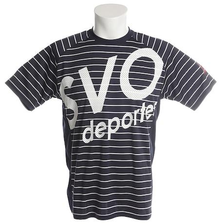 【多少の傷汚れありの為大奉仕】サッカー ウェア メンズ ボーダーDRYトップ半袖Tシャツ 181-62900NY フットサルウェア