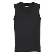 サッカー ジュニア インナー ストレッチ Vネック ノースリーブシャツ 742G6ES2861 黒