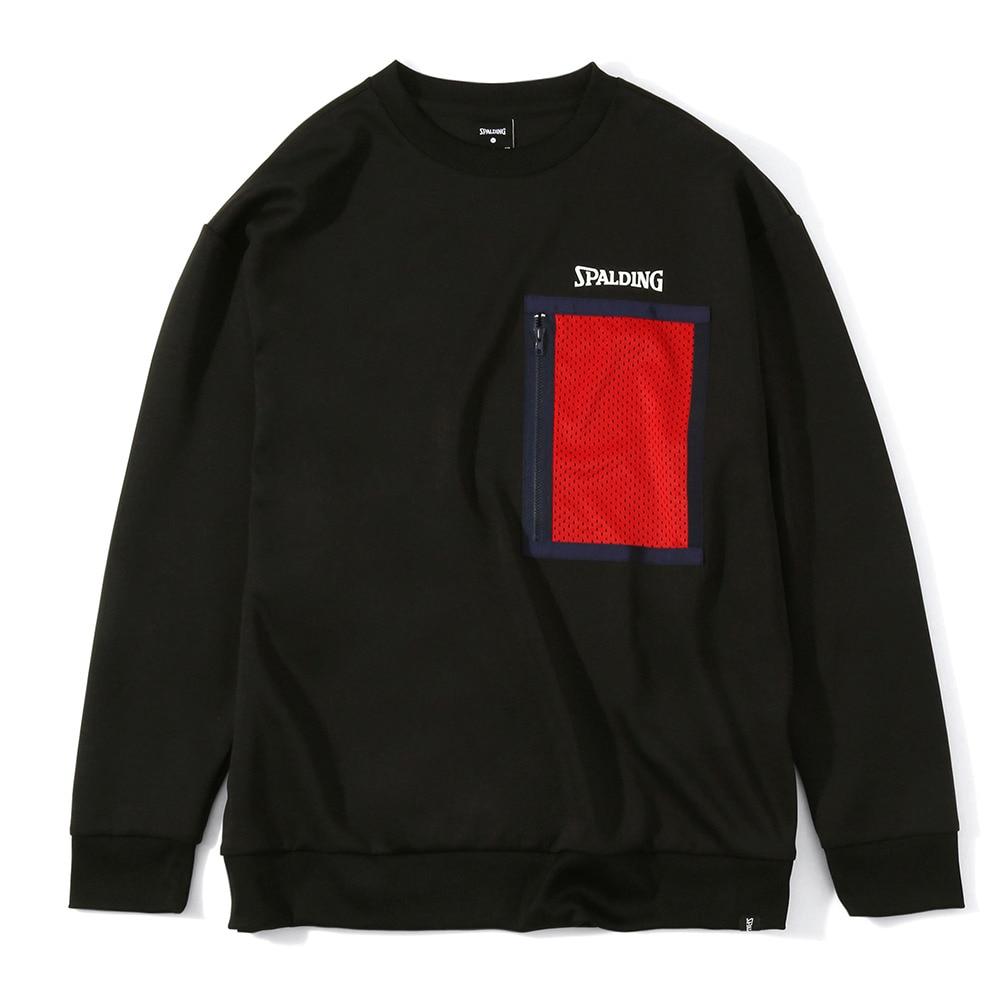 スポルディング メッシュポケット クルーネックスウェットシャツ SMJ201430 LL 90 バスケットボール