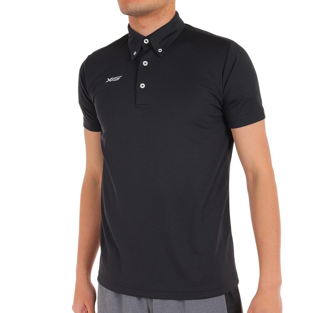 XTS ポロシャツ メンズ 半袖 ドライプラス 吸汗速乾 ボタンダウン 751G6TF3549 BLK 【 バスケットボール ウェア 】 L 90 バスケットボール