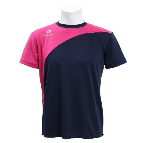【多少の傷汚れありの為大奉仕】Tシャツ フロント切替半袖Tシャツ NV/PK 3119JG33610 陸上ウェア シャツ