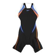 水着 ガールズ 女児 ジュニア フレックスシグマ オープンバックニースキン FINA承認 ロングタイプ  黒 ブラック SCG11909F BN