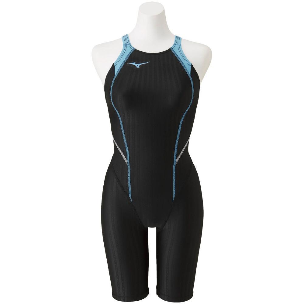 水着 ガールズ 女児 ジュニア STREAM ACE 競泳用ハーフスパッツ ロングタイプ 黒 ブラック N2MG042091