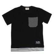 ボーイズ 切替レイヤード 半袖Tシャツ 68113 BLK オンライン価格