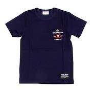 ジュニア オルティガ柄 半袖ポケットTシャツ 68114 NVY オンライン価格