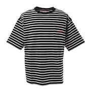 ストライプ半袖Tシャツ sl2021ss006-BK/WH