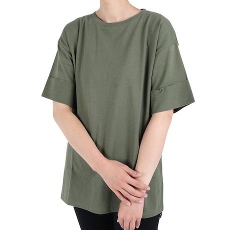 Tシャツ レディース 半袖 ロング丈 ヘビーウェイト チュニック 872PA1CD6345KHK カーキ