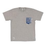 米織小紋柄 胸ポケット 翠雨 半袖Tシャツ CH01-1818-G005