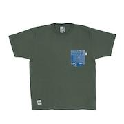 米織小紋柄 胸ポケット 翠雨 半袖Tシャツ CH01-1818-M033