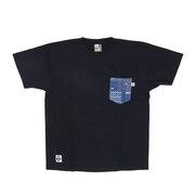 米織小紋柄 胸ポケット 翠雨 半袖Tシャツ CH01-1818-N001