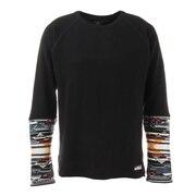 袖ニットサーマルロンTシャツ 1927201-19:BLACK