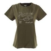 Tシャツ 半袖 ILLUST PIRNT WE2HHA34 OLV 緑 グリーン 深緑 モスグリーン 動物 かわいい 綿 綿100