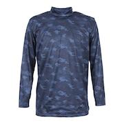 ウインドクロス 防風 長袖ハイネックシャツ カモ 891PA9ASC5003NVY