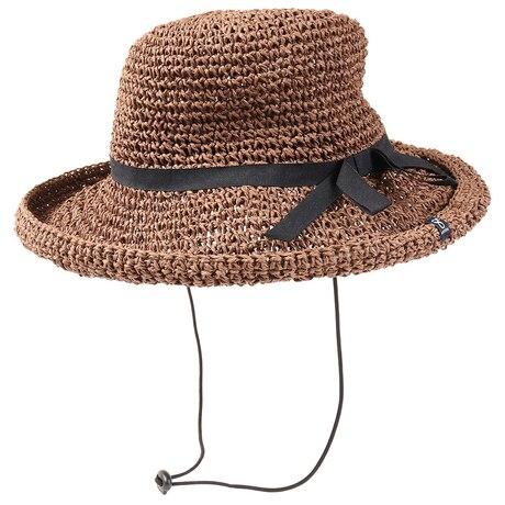 帽子 レディース 麦わら帽子 SINGLE CROCHET PAPER ハット HU20SST898006 BRN 大きめ 日よけ