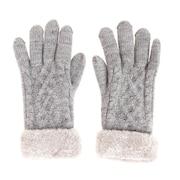 2重5指ケーブルニット手袋 515036 グレー