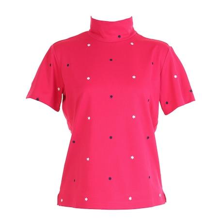 飛び柄刺しゅうモックネックシャツ 711621 -RD