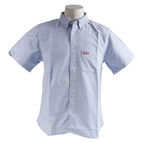 チャムスオックスシャツ半袖 CH02-1075 Blue Logo