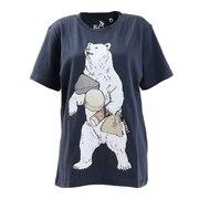 USA/C 天竺 おでぽクマ 半袖Tシャツ 331909 NVY