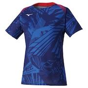卓球ウエア ゲームシャツ ウィメンズ 青 ブルー 82JA020120