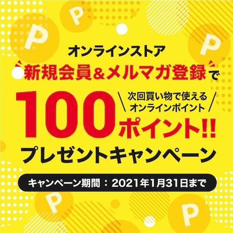 オンラインストア限定 会員登録&メルマガ登録で100ポイントプレゼントキャンペーン